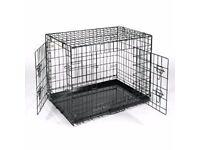 Large metal fold away flat dog cage