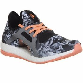 Adidas PureBoost X Running shoes - Black White Sun Glow Floral *IN BOX* Size UK 4.5