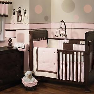 Lambs & Ivy Pink & Chocolate Brown bedding set for crib