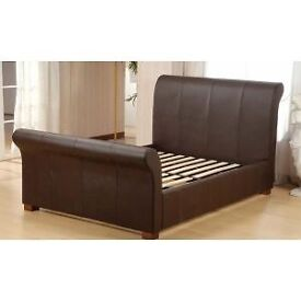 Dreams king size brown faux leather bed frame