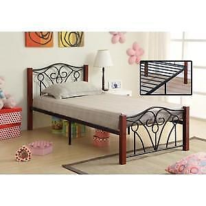 Black Metal Bed with Dark Cherry Posts  web exclusive deal (IF714)