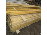 1 x 2.7 metre - 9 ft light brown 47mm wide wooden timber garden fence cant rail