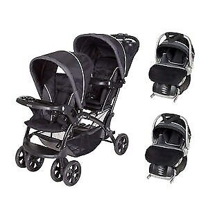 Baby trend double stroller and 2 car seats
