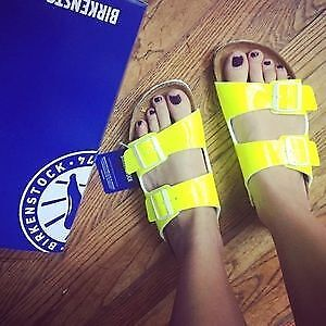 Birkenstock Arizona Neon Yellow size 40 narrow