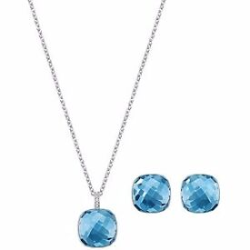 NEW GIFT BOXED & BAG SWAROVSKI CRYSTAL BLUE DOT NECKLACE PENDANT & MATCHING EARRINGS GENUINE