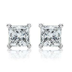 White Gold Princess Cut Diamond Earrings