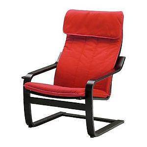 IKEA Poang Armchair Dark/Brown Wood with Red Cushion Mawson Lakes Salisbury Area Preview