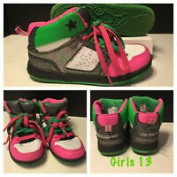 GIRLS OCEAN PACIFIC HIGH TOP SHOES SIZE 13
