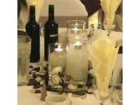 Cylinder Vase Hire £5 Starlight Dancefloor Hire £499 Gold Sequin Cloth Rental Flower Backdrop Lights