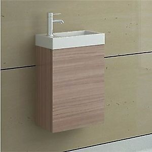 New Cloakroom bath sink & cupboard / Compact Light Oak Wall Hung Vanity Unit
