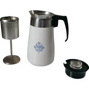 Corning Ware Blue Cornflower 6 Cup Coffee Pot Percolator