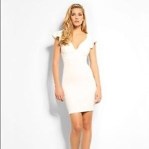 Brand New Guess XS White Dress, Ruffle Ottoman Bodycon Dress