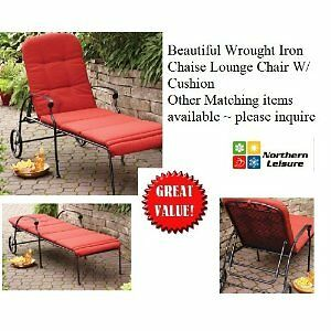 Outdoor wrought iron chaise lounge chair w cushion wheels for 23 w outdoor cushion for chaise