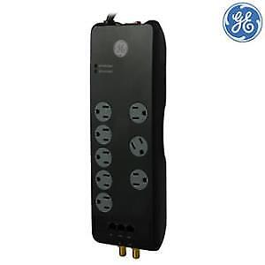 GE 8-Outlet Surge Protector Power Bar , 4ft Cord, 2100 Joules