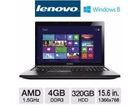 BRAND NEW CONDITION LENOVA 15.6 WINDOWS 8.1 LAPTOP IN BLACK WITH BOX