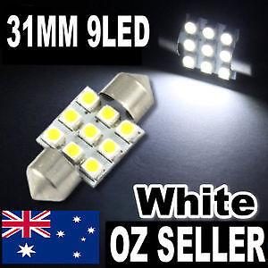 31mm Fits 30mm 32mm LED 6000K WHITE 9 LED Car Interior Light Bulb Holden Ford