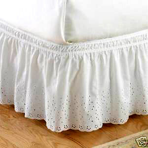 Victorian Eyelet Lace Bedskirt/Dust Ruffle : Twin/Single Bed