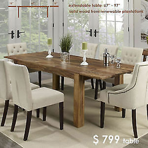 massive wood - TABLE - en bois massif - extensible casaelite.ca