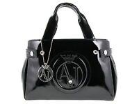 Womens Armani Jeans Black Patent Medium Handbag