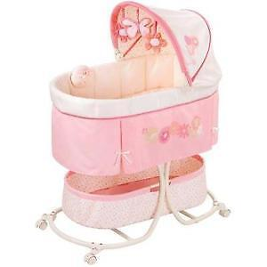 Baby Girl Bassinet (Pink w/Flowers)  **Willing To Deliver!**