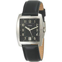Timex Men's Classic Square Black Leather Strap Watch