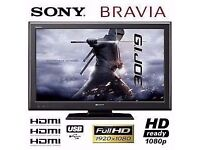 "Sony Bravia 37"" Full HD 1080p Flat LCD TV with Freeview built in + 3x HDMI + USB Port, not 32 39 40"