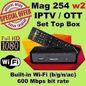 MAG254 W2 IPTV BOX + INCLUDING 12 MONTHS SUB 199$ ONLY