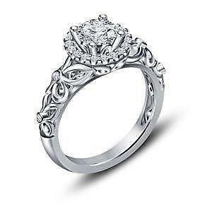 925 sterling silver engagement rings - Sterling Silver Diamond Wedding Rings