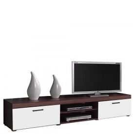 2 Metre Large 2 Door TV Cabinet In Brown/White *NEW*