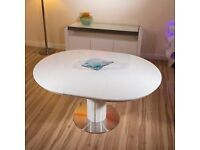 White gloss round dining table 6 white leather chairs