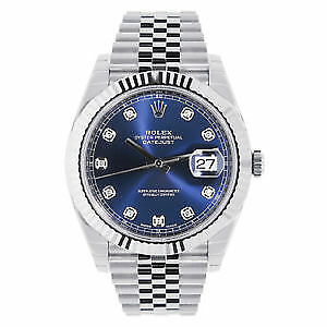 New ROLEX DATEJUST 41MM STAINLESS STEEL MENS WATCH 126334 BLUE D
