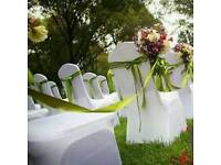 110 white lycra chair covers to hire for weddings and events - BEST PRICE