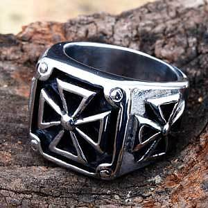 Heavy Stainless Iron Cross ring, sizes 11 + 12.