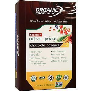 Organic Food Bar Active Greens + Protein Raw Bar Chocolate Covered 12 bars