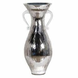 Large Silver Glass Urn With Handles