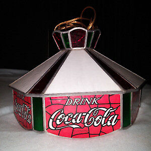 Coca-Cola hanging lamp - Tiffany style stained glass bar light