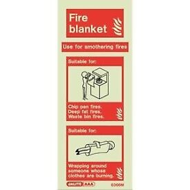 🔥FIRE BLANKET SIGNS GLOW IN THE DARK 300mm x 200mm RIDGID PLASTIC £1 EACH