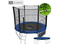 New KANGA 8ft Trampoline With Enclosure, Net, Ladder, Winter Cover & Shoe Bag + extra ground ties