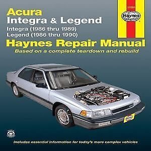Haynes for Acura Integra and Legend 1986 to 89, 86 to 90
