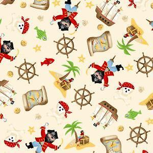 Pirate ship fabric ebay for Kids pirate fabric