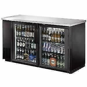 "Back Bar Cooler, Glass Door,60"" with Stainless Steel Top and LED"