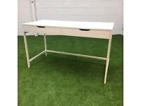 White Desk with built in storage