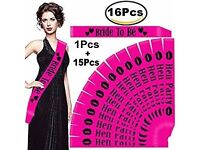 16 Pcs Pink Hen Party Sash Bride to Be Sash Hen Night Out
