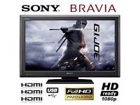"""Sony 37"""" inch Full HD 1080p LCD Flat TV, Freeview, 3 x HDMI and USB Port not 32 39 40 Will Deliver"""