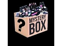 Makeup, hair and skincare mystery box. Mixture of moisturisers, face masks, face products, nails etc