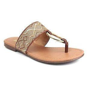 NEW Womens Shoes Tan T Strap Sandals Size 10 Ladies Flats Summer Braided Beige
