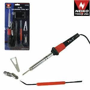 Brand New 5pc Soldering Tool Set/200W SOLDERING GUN W/ TEMPERATURE ADJUSTMENT/Soldering sucker