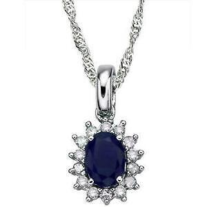 SOLID 14K WHITE GOLD 1.5 CTW DIAMONDS AND SAPPHIRE 18