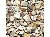 20 mm buff Flint garden and driveway chips