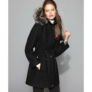 Laundry by Shelli Segal Faux Fur Trim Hooded Wool Coat black M